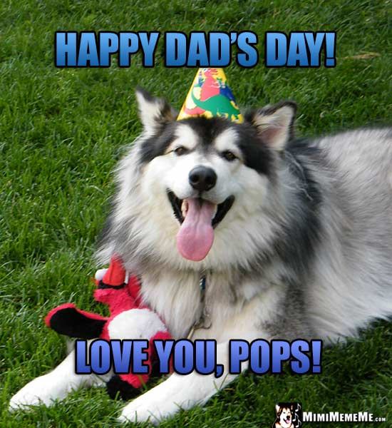 Smiling Dog Wearing Party Hat Says: Happy Dad's Day! Love You, Pops!