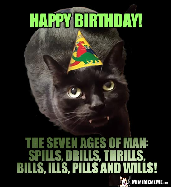 Birthday Humor: Happy Birthday! The seven ages of man: spills, drills, thrills, bills, ills, pills and wills!