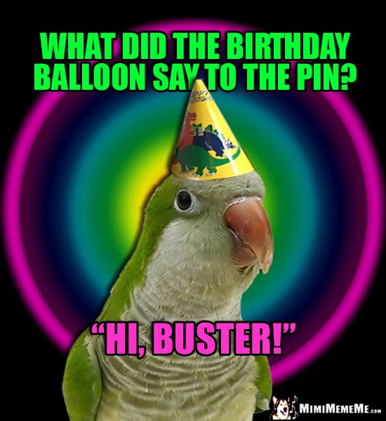 Funny Birthday Meme: What did the birthday balloon say to the pin? Hi, Buster!