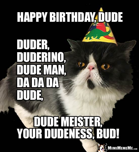 Party Cat Says: Happy Birthday Dude, duderino, dude man, dude meister, your dudeness...
