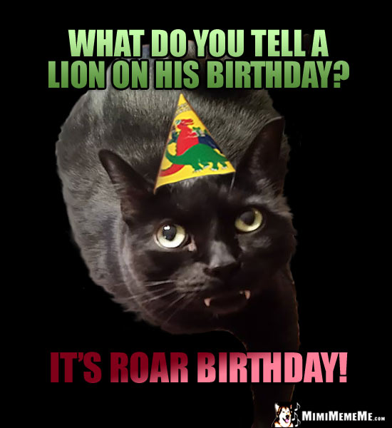 Dark Party Cat Asks: What do you tell a lion on his birthday? It's Roar Birthday!