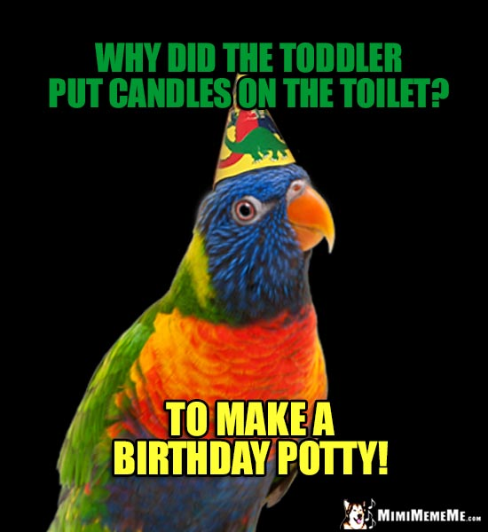 Party Parrot Riddle: Why did the toddler put candles on the toilet? To make a birthday potty!