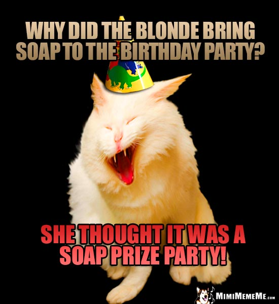 Party Cat Riddle: Why did the blonde bring soap to the birthday party? She thought it was a soap prize party!