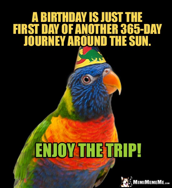 Party Parrot Says: A birthday is just the first day of another 365-day journey around the sun. Enjoy the trip!
