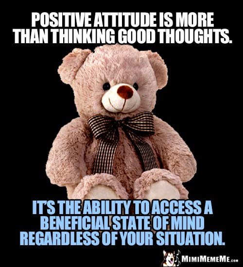 Teddy Bear: Positive attitude is more than thinking good thoughts. ...