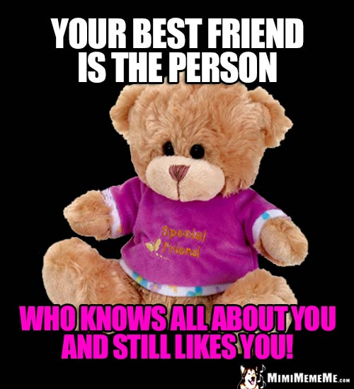 Teddy Bear Says: Your best friend is the person who knows all about you and still likes you!