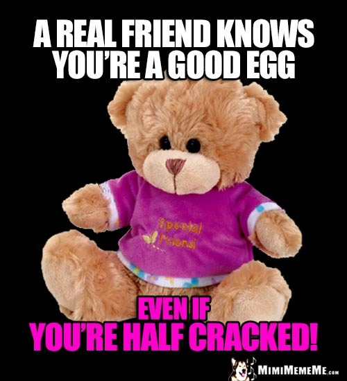 Teddy Bear: A real friend knows you're a good egg, even if you're half cracked!