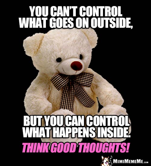 Wise Bear Says: You can't control what goes on outside, but you can control what happens inside. Think good thought!