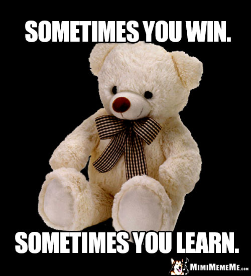 Sage Teddy Bear Says: Sometimes you win. Sometimes you learn.