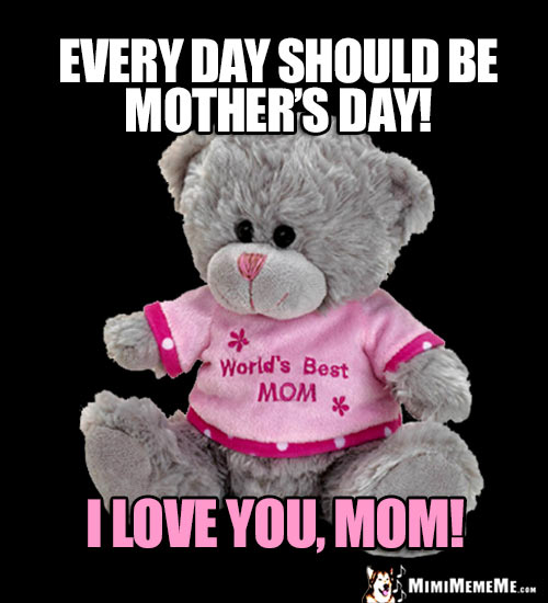 Teddy Bear Saying: Every day should be Mother's Day! I Love You, Mom!