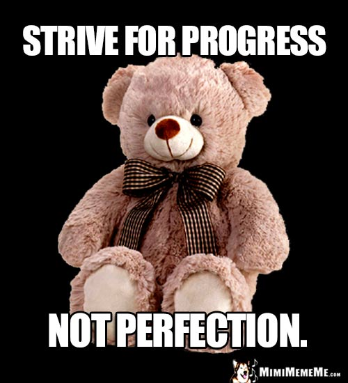 Motivational Teddy Bear Says: Strive for Progress, Not Perfection.