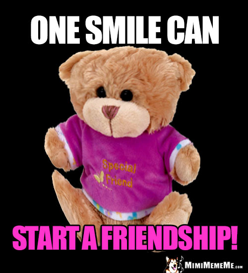 BFF Teddy Bear Says: One smile can start a friendship!