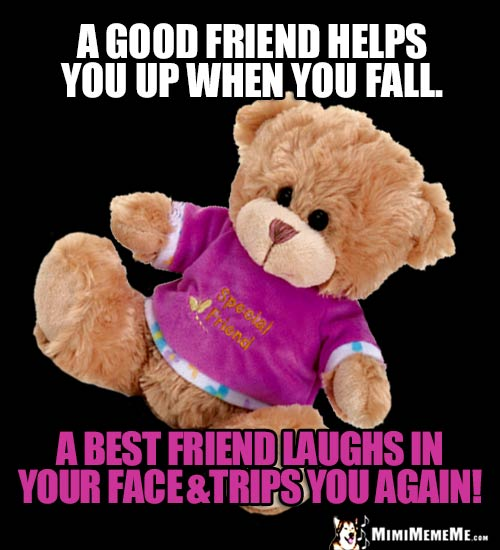 Slipping Teddy Bear Says: A good friend helps you up when you fall. A best friend laughs in your face & trips you again!