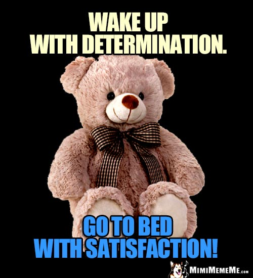 Sage Teddy Bear Says: Wake up with determination. Go to bed with satisfaction!