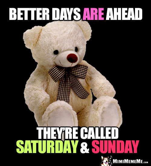 Optimistic Teddy Bear Says: Better days are ahead. They're called Saturday & Sunday.