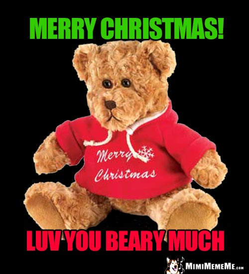 Teddy Bear Says: Merry Christmas! Luv You Beary Much