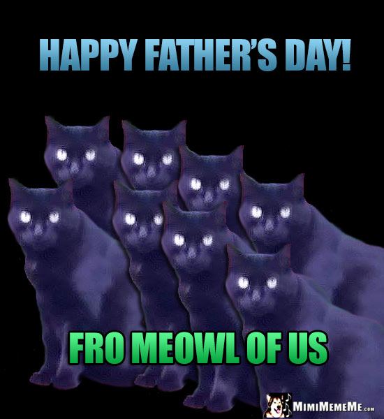Eight Black Cats Say: Happy Father's Day! Fro Meowl of Us