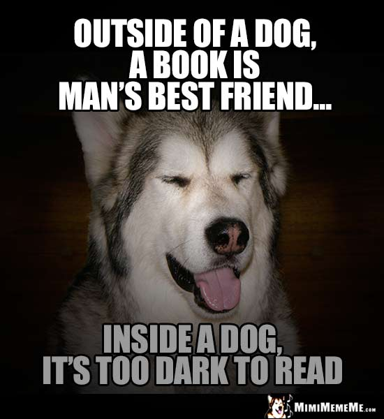 Dog Humor: Outside of a dog, a book is a man's best friend. Inside a dog, it's too dark to read