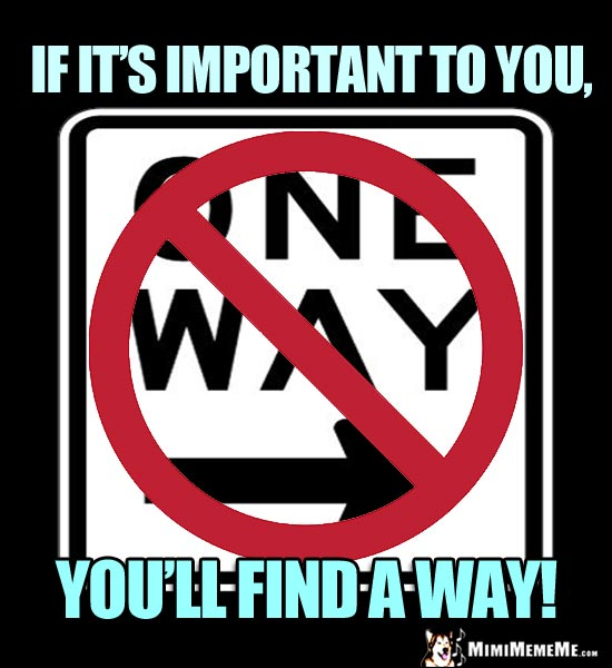 NO One Way Sign: If it's important to you, you'll find a way!