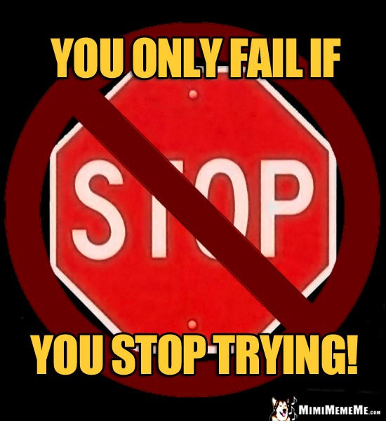 NO Stop Sign: You only fail if you stop trying!