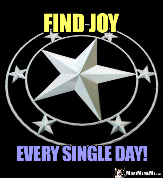 Star in a Circle Says: Find Joy Every Single Day!